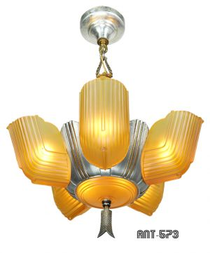 Art-Deco-Streamline-Slip-Shade-6-Light-Antique-Chandelier-by-Lincoln-(ANT-573)