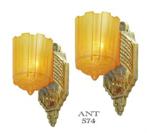 Art Deco Pair of Original Sconces Slip Shade Wall Lights by Lincoln (ANT-574)