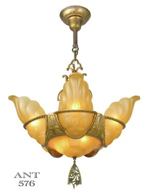 Art Deco Antique 6 Shade Chandelier Mid-West Slip Shade Ceiling Light (ANT-576)