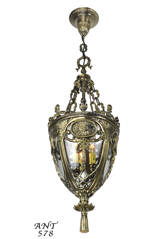 Vintage Hardware u0026 Lighting - Victorian NeoClassical Entry Pendant Fixture with Candle Tube Lights (ANT-578)  sc 1 st  Vintage Hardware u0026 Lighting & Vintage Hardware u0026 Lighting - Victorian NeoClassical Entry Pendant ... azcodes.com