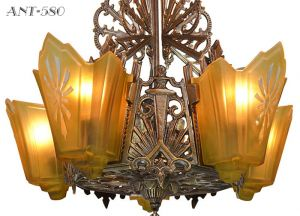 Antique-Art-Deco-Chandeliers-1930s-Slip-Shade-Ceiling-Lights---Pair-(ANT-580)