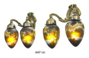 French Cameo Glass Pair of 2 Arm Wall Sconces Original Rewired Lights (ANT-581)