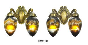 French-Cameo-Glass-Pair-of-2-Arm-Wall-Sconces-Original-Rewired-Lights-(ANT-581)