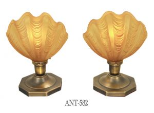 Art Deco Table Lamps Pair Odeon Clamshell Amber Color Theater Lights (ANT-582)