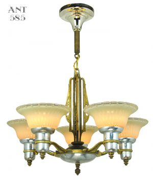 Art Deco Streamline Chandelier 5 Arm Light Fixture by Mid-West Mnf (ANT-585)