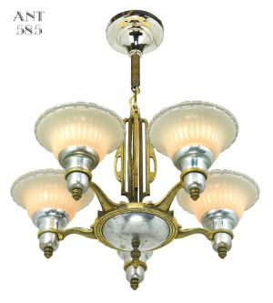Art-Deco-Streamline-Chandelier-5-Arm-Light-Fixture-by-Mid-West-Mnf-(ANT-585)