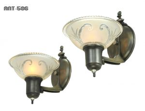 Art Deco Streamline Wall Sconces Antique Lights Fixtures Circa 1938 (ANT-586)