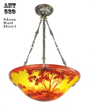 Ceiling Bowl Chandeliers Handmade Scenic Landscape Cameo Glass Lights (ANT-589)