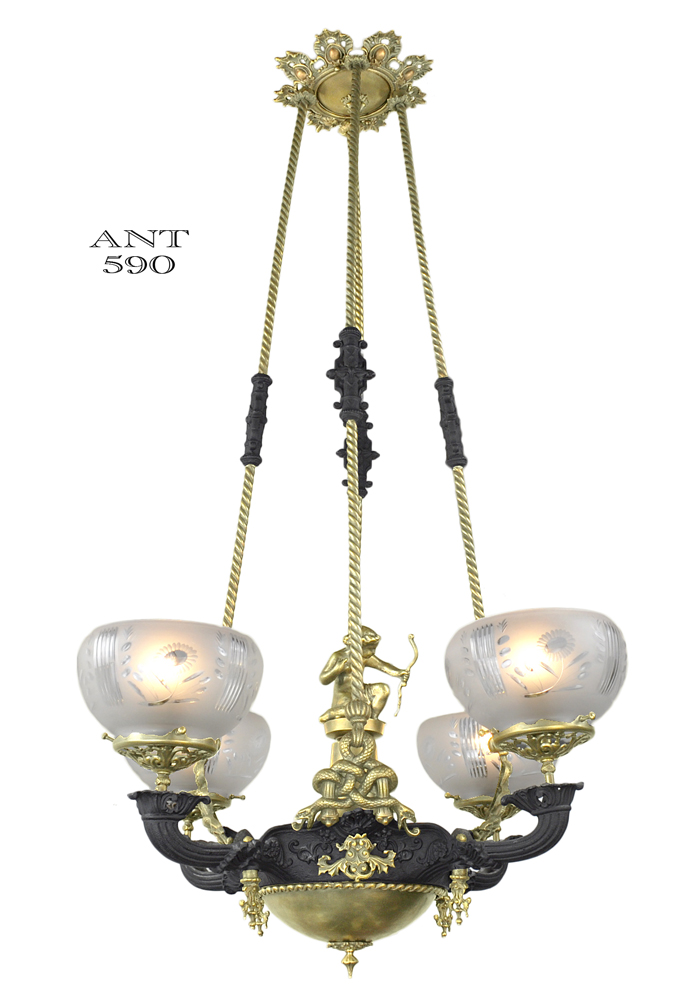 Vintage hardware lighting victorian gasolier 4 arm chandelier vintage hardware lighting victorian gasolier 4 arm chandelier serpent snake motif circa 1850 ant 590 mozeypictures Choice Image