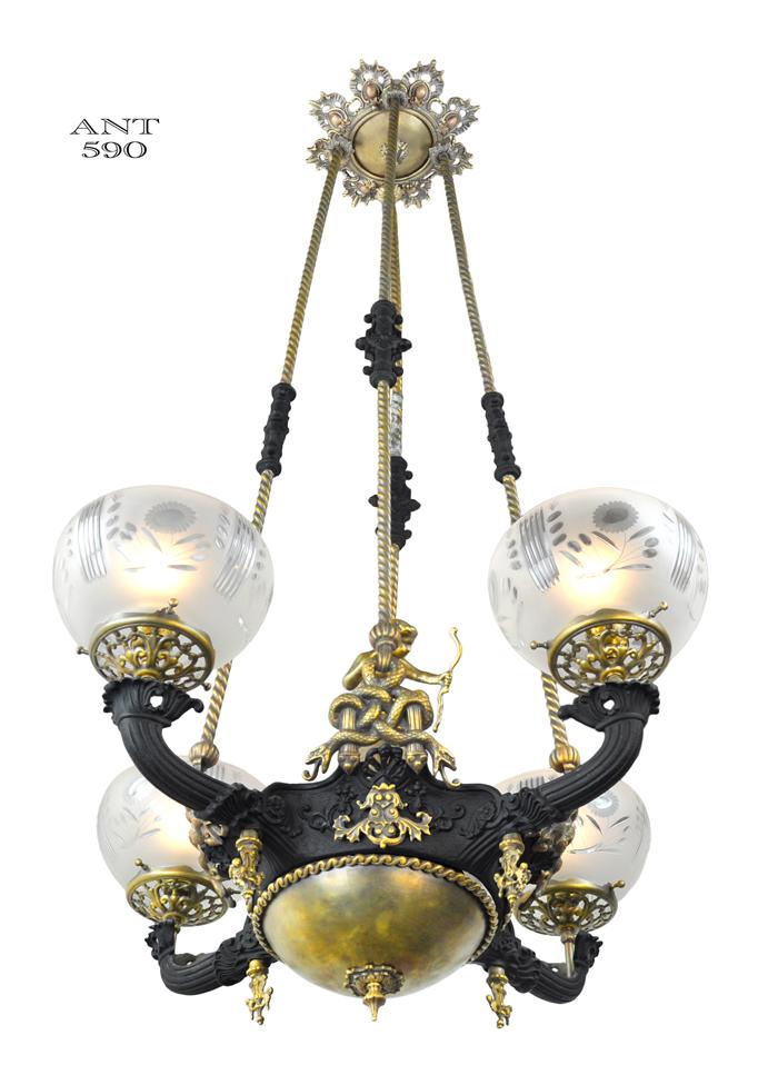 Vintage Hardware Amp Lighting Victorian Gasolier 4 Arm Chandelier Serpent Snake Motif