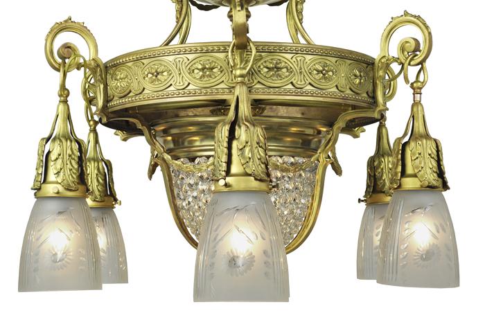 Vintage Hardware Amp Lighting Antique Crystal Chandelier 6