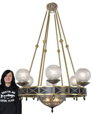 Mid-Century-Modern-10-Light-Chandelier-Ceiling-Fixture-w/-Bowl-Shade-(ANT-594)