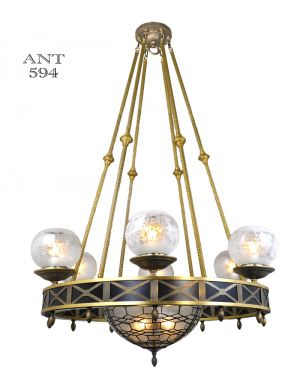 Mid-Century Modern 10 Light Chandelier Ceiling Fixture w/ Bowl Shade (ANT-594)