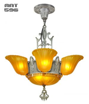 Art Deco Slip Shade Antique Chandelier 6 Light 1930s Ceiling Fixture (ANT-596)
