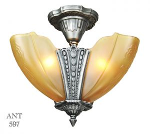 Art-Deco-Antique-3-Light-Chandelier-Semi-Flush-Mount-1930s-by-Puritan-(ANT-597)