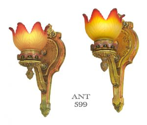 Pair of Antique Wall Sconces Polychrome Lights Multi-Color Lighting (ANT-599)