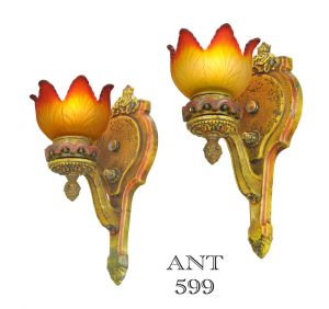 Pair-of-Antique-Wall-Sconces-Polychrome-Lights-Multi-Color-Lighting-(ANT-599)