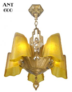 Art Deco Chandelier Antique Slip Shade Dynalite Ceiling Light Fixture (ANT-600)