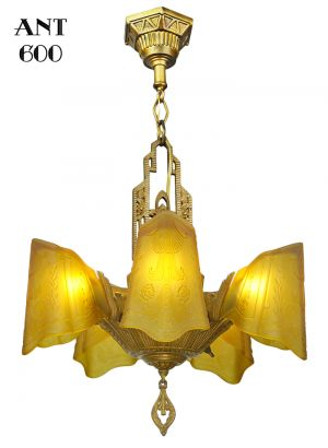 Art-Deco-Chandelier-Antique-Slip-Shade-Dynalite-Ceiling-Light-Fixture-(ANT-600)