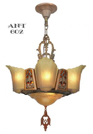 Art Deco Chandelier 6 Light Ceiling Fixture Amber Color Slip Shades (ANT-602)