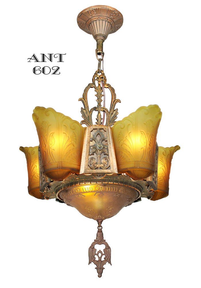 Vintage Hardware Amp Lighting Art Deco Chandelier 6 Light