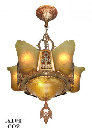 Art-Deco-Chandelier-6-Light-Ceiling-Fixture-Amber-Color-Slip-Shades-(ANT-602)