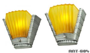 Art Deco Streamline Design Pair of Antique Wall Sconces by Mid West (ANT-604)