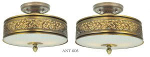 Vintage Semi Flush Mount Ceiling Lights Pair of Drum Shade Fixtures (ANT-605)