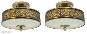 Vintage-Semi-Flush-Mount-Ceiling-Lights-Pair-of-Drum-Shade-Fixtures-(ANT-605)