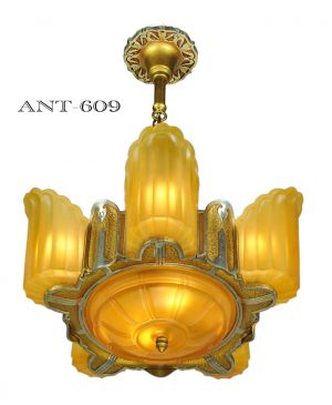 Art-Deco-Streamline-Slip-Shade-Chandelier-6-Light-30s-Ceiling-Fixture-(ANT-609)