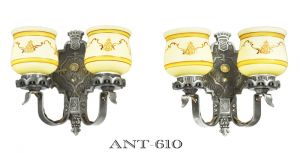 Antique-Double-Arm-Wall-Sconces-Pair-of-Restored-1920s-Two-Arm-Lights-(ANT-610)