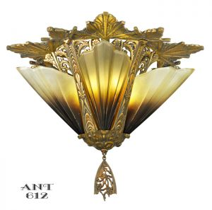 Antique Art Deco Flush Mount Short Ceiling Light Chandelier Mid-West (ANT-612)