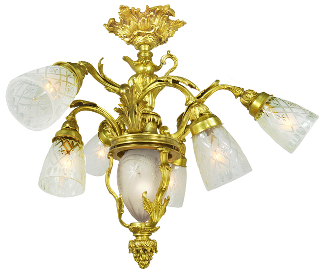 Neo Rococo French Chandeliers Pair Of 6 Arm Ceiling Lights Fixtures Ant 614