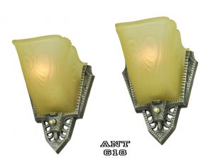 Art Deco Antique Wall Sconces Pair of 1930s Slip Shade Lights by Gill (ANT-618)