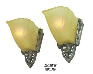 Art-Deco-Antique-Wall-Sconces-Pair-of-1930s-Slip-Shade-Lights-by-Gill-(ANT-618)
