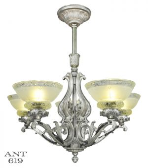 Art Deco Antique Chandelier 5 Light Ceiling Fixture Pewter Original (ANT-619)