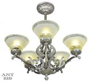 Art-Deco-Antique-Chandelier-5-Light-Ceiling-Fixture-Pewter-Original-(ANT-619)