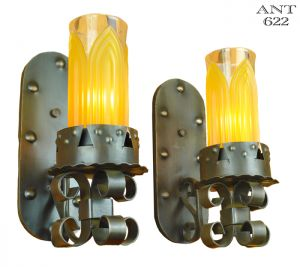 Gothic Torch Style Antique Wall Sconces 1920s - 1930s Medieval Look (ANT-622)
