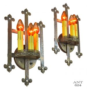 Gothic or Arts and Crafts Style Bare Bulb Candle Wall Sconces Lights (ANT-624)