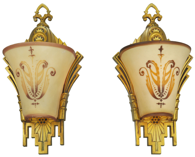 size 40 cd1c3 858ac Art Deco Wall Sconces Pair Slip Shade Lights Circa 1930 by Williamson  (ANT-626)