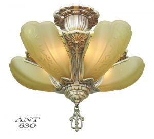 Art-Deco-Slip-Shade-Chandelier-5-Light-1930s-Ceiling-Fixture-by-Globe-(ANT-630)