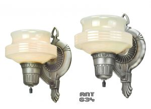 Art Deco Streamline Antique Wall Sconces Circa 1920 - 1930 Lights (ANT-634)