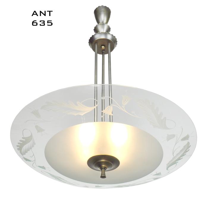 Midcentury Modern Vintage Chandelier Lens Bowl Ceiling Light Fixture Ant 635
