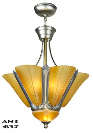 Art Deco Chandelier French 8 Socket Slip Shade Ceiling Light Fixture (ANT-637)
