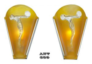 Art Deco French Wall Sconces with Female Figural Woman Dancer Lights (ANT-639)