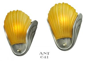 Art Deco Streamline Wall Sconces Pair with Slip Shades Circa 1938 (ANT-641)