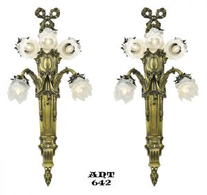 Antique French Wall Sconces Pair of Large 5 Arm Floral Light Fixtures (ANT-642)