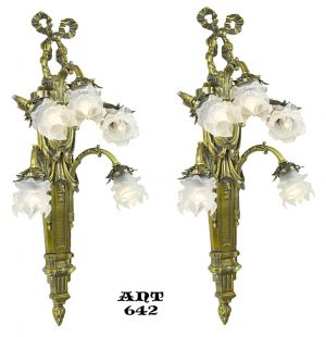 Antique-French-Wall-Sconces-Pair-of-Large-5-Arm-Floral-Light-Fixtures-(ANT-642)