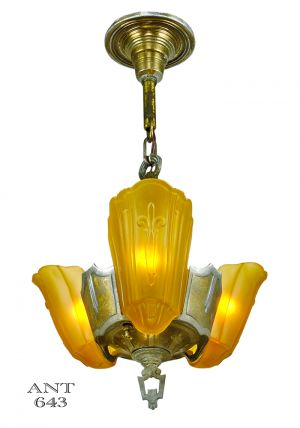 Art Deco Lincoln 3 Light Chandelier 1935 Slip Shade Ceiling Fixture (ANT-643)