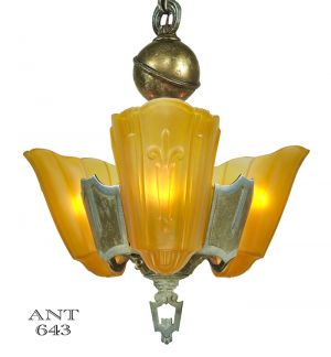 Art-Deco-Lincoln-3-Light-Chandelier-1935-Slip-Shade-Ceiling-Fixture-(ANT-643)